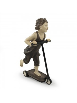 Boy on Scooter Statuette