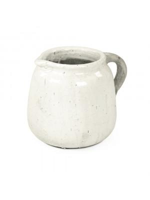 Distressed White Jar (8562L A25A)