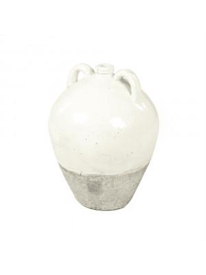 Distressed White Jar (8563L A25A)