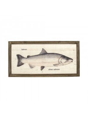 Silver Salmon Wood Panel Framed Art Print