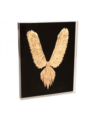 Abstract Gold Leaf Feather Bird Acrylic Wall Art