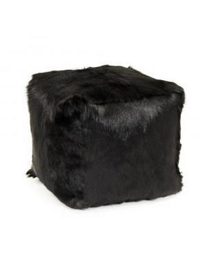 """22"""" x 22"""" Tibetan Black Goat Fur Pouf"""