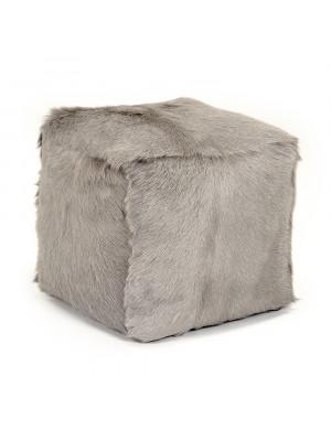 """22"""" x 22"""" Tibetan Light Grey Goat Fur Pouf"""