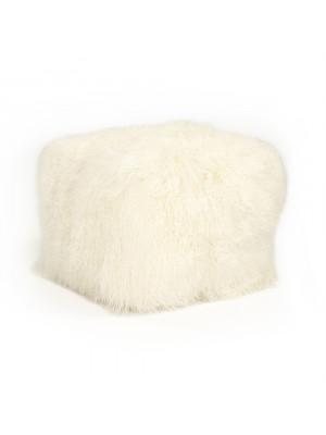 """24"""" x 24"""" Tibetan Ivory Lamb Fur Pouf"""