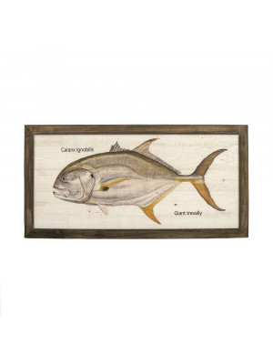 Giant Trevally Wood Panel Framed Art Print