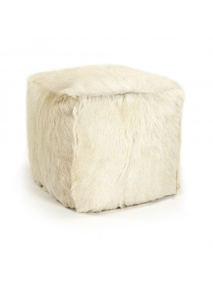 """22"""" x 22"""" Tibetan Ivory Goat Fur Pouf"""