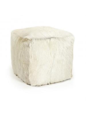 """22"""" x 22"""" Tibetan White Goat Fur Pouf"""