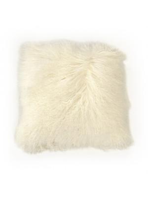 "20"" x 20"" Tibetan Ivory Lamb Fur Pillow"