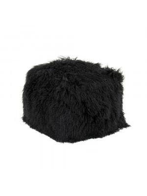 """24"""" x 24"""" Tibetan Black Lamb Fur Pouf"""