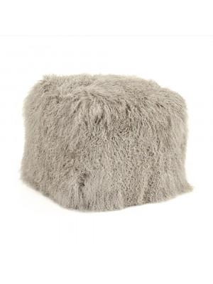 """24"""" x 24"""" Tibetan Light Grey Lamb Fur Pouf"""