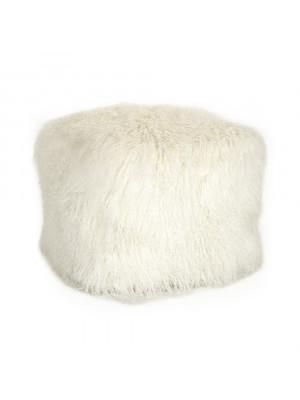 """24"""" x 24"""" Tibetan White Lamb Fur Pouf"""