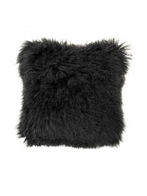 "20"" x 20"" Tibetan Black Lamb Fur Pillow"