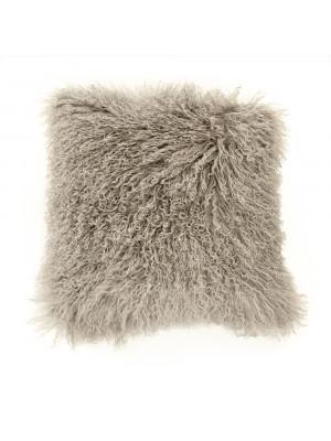 """20"""" x 20"""" Tibetan Light Grey Lamb Fur Pillow"""