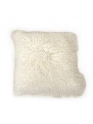 """20"""" x 20"""" Tibetan White Lamb Fur Pillow"""
